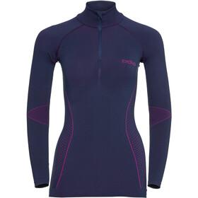 Odlo Evolution Shirt LS Turtle Neck 1/2 Zip Damen peacoat/pink glo